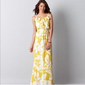 Yellow hibiscus flower maxi dress